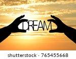 silhouette dream in businessman ... | Shutterstock . vector #765455668