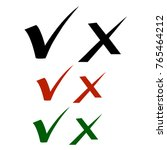 set of check marks drawn with... | Shutterstock .eps vector #765464212