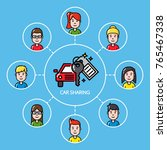 car sharing concept with group... | Shutterstock .eps vector #765467338