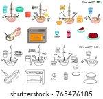 recipe cheesecake cherry pie... | Shutterstock .eps vector #765476185