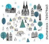 christmas market europe. hand... | Shutterstock .eps vector #765479665