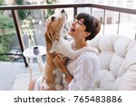 close up portrait of lovely... | Shutterstock . vector #765483886