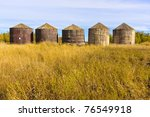 Old Wood Grain Storage Bins On...