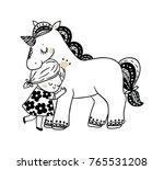 little princess and unicorn | Shutterstock .eps vector #765531208