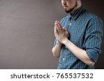 pay respect prayer concept for... | Shutterstock . vector #765537532