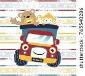 funny animals on truck cartoon... | Shutterstock .eps vector #765540286