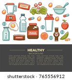 fitness food poster of sports... | Shutterstock .eps vector #765556912