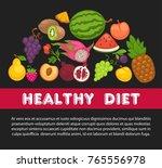 organic fruits poster of... | Shutterstock .eps vector #765556978