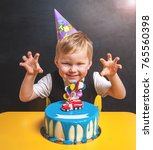 kid birthday cake with toy fire ... | Shutterstock . vector #765560398