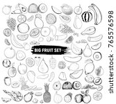 a big set of fruits in the... | Shutterstock . vector #765576598