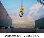 discharging steel coil from...   Shutterstock . vector #765584272