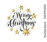merry christmas golden star... | Shutterstock .eps vector #765591052