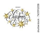 merry christmas holiday golden...   Shutterstock .eps vector #765591058
