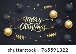 merry christmas golden... | Shutterstock .eps vector #765591322