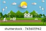 eco green city. environment... | Shutterstock .eps vector #765605962