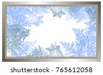 2018 new year on ice frosted... | Shutterstock .eps vector #765612058