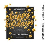 happy holidays. gold typography.... | Shutterstock .eps vector #765617362
