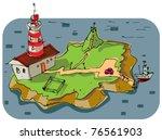 lighthouse on little island  ... | Shutterstock .eps vector #76561903