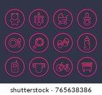 baby line icons set  toys  pram ... | Shutterstock .eps vector #765638386