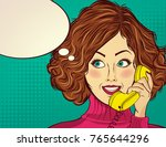 beautiful red haired lady ... | Shutterstock .eps vector #765644296