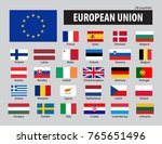 flags of european union and... | Shutterstock .eps vector #765651496