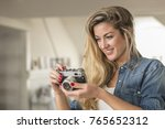 indoor smiling lifestyle... | Shutterstock . vector #765652312