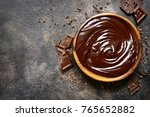 chocolate ganache in a wooden... | Shutterstock . vector #765652882