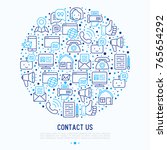 contact us concept in circle... | Shutterstock .eps vector #765654292