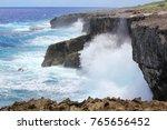 white foaming waves breaking as ...   Shutterstock . vector #765656452