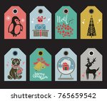 holiday christmas tags  labels. ... | Shutterstock . vector #765659542