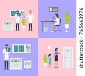 doctors and laboratory... | Shutterstock .eps vector #765663976