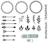 logo creator. vintage hipster... | Shutterstock .eps vector #765669445