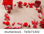 christmas frame made of red... | Shutterstock . vector #765671302