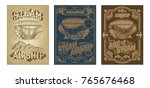 Set Vector Steampunk Posters ...