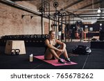 fit young blonde woman in...   Shutterstock . vector #765678262