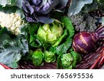 various of cabbage broccoli... | Shutterstock . vector #765695536