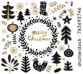 christmas vector collection... | Shutterstock .eps vector #765695746