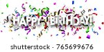 white happy birthday banner... | Shutterstock .eps vector #765699676