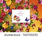 rose illustration. rose flowers.... | Shutterstock .eps vector #765705292