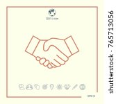 handshake line icon | Shutterstock .eps vector #765713056