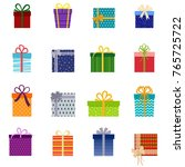 set of christmas gifts  vector... | Shutterstock .eps vector #765725722
