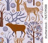 winter pattern design  deer in... | Shutterstock .eps vector #765729088