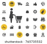 woman shopping vector icon on...