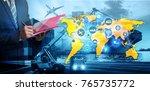 double exposure business... | Shutterstock . vector #765735772