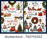 merry christmas greeting card... | Shutterstock .eps vector #765741022