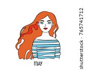 beautiful girl. month. isolated ... | Shutterstock .eps vector #765741712