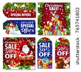 christmas sale tag and new year ... | Shutterstock .eps vector #765741802
