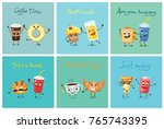 vector cards with cartoon funny ... | Shutterstock .eps vector #765743395