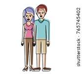 couple in watercolor silhouette ... | Shutterstock .eps vector #765745402