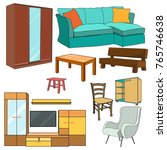 vector  isolated furniture... | Shutterstock .eps vector #765746638